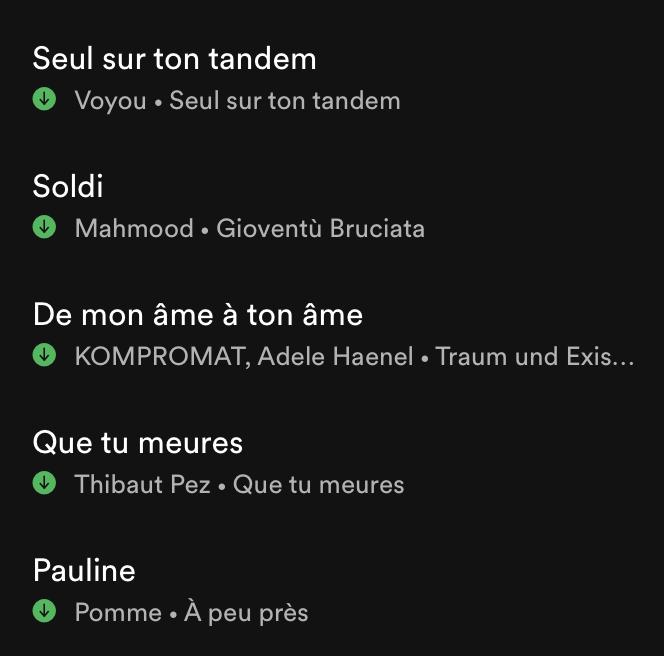 Playlist à retrouver sur Spotify